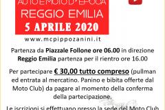 2020. 3 - Locandina 5 Aprile 2020 - Mostra Scambio Auto e Moto d\'Epoca Reggio Emilia